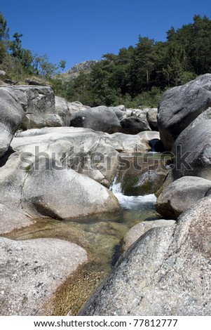 Mountain landscape with river in Geres, Portugal