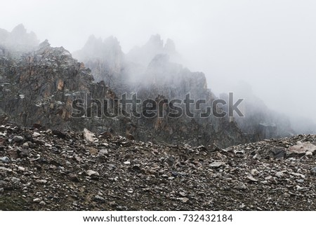 Mountain landscape with rocks and creeping fog. High peaks in the clouds, cold weather. Tourism in the mountains #732432184
