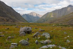 Mountain landscape with rocks, Ural Mountains, Russia.
