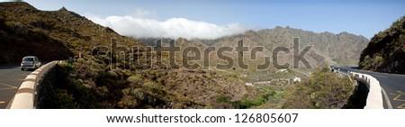 Mountain landscape with sky, Tenerife, Canary Islands, Spain - stock photo