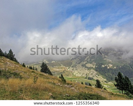 Mountain landscape with the clouds, French Pyrenees near the Pic du Canigou