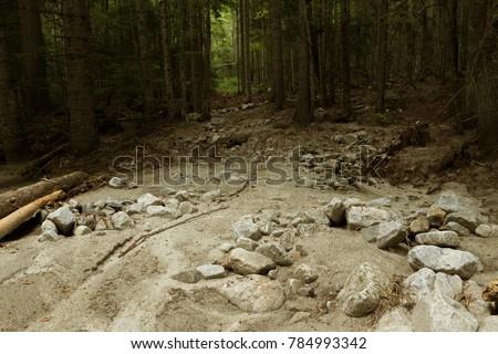 mountain landslide stone slopes ...