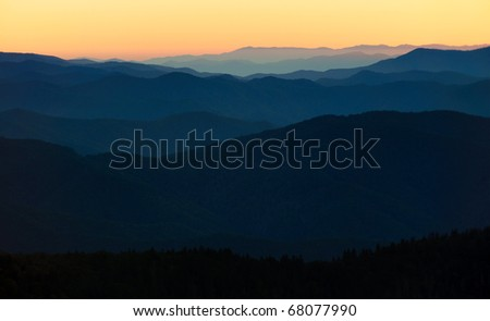 mountain layers at sunrise from Clingman's Dome