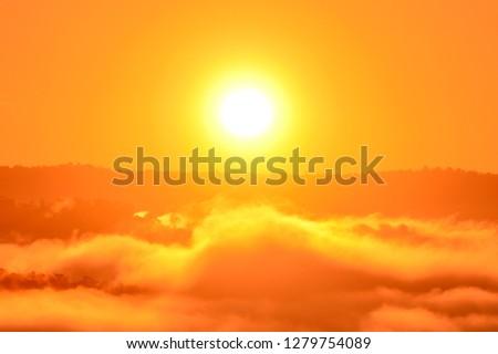 Mountain Mist in sunrise,mist on sunrise,mist over mountain during sunrise #1279754089