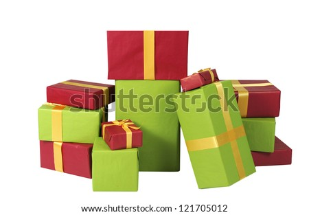 mountain of christmas presents, isolated on white