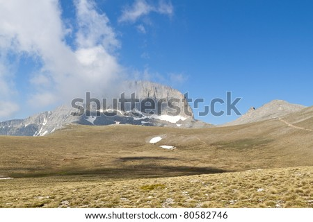 Mountain Olympus in Greece. The 'Muses' plateau and the throne of Zeus  also called 'Stefani'. Landscape altitude of the plateau is 2680 meters.