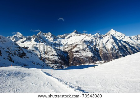 mountain panorama at zermatt with dent blance, obergabelhorn, zinalrothorn and weisshorn, valais, switzerland
