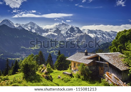 Mountain Panorama in the Swiss Alps, Switzerland