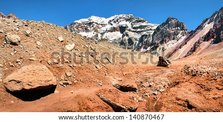 Mountain panorama of Aconcagua, the highest mountain in South America, as seen from South Side, Mendoza, Argentina