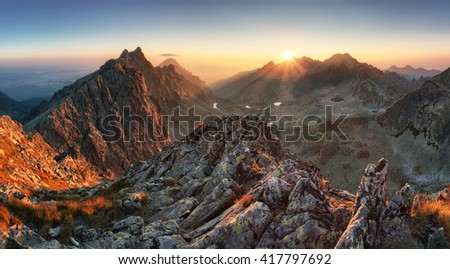 Mountain panorama with sun in Slovakia #417797692