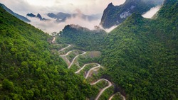 Mountain pass in Cao Bang, Vietnam. Mẻ Pia pass in Cao Bang, Vietnam.Landscape of area Trung Khanh, Cao Bang, Vietnam.Bamboo water wheel get water from the river to irrigate rice fields.Quay Son river