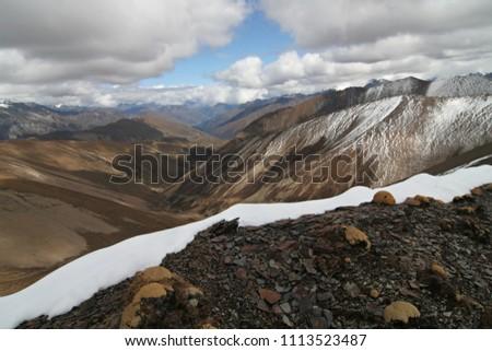 Mountain pass Nyele La at an altitude of 4,830 meters. Jigme Dorji National Park. Bhutan. Asia. Stock fotó ©