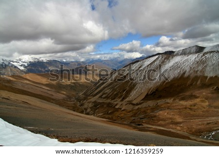 Mountain pass Nyele La at an altitude of 4,830 meters. View of Bhutanese Himalaya. Jigme Dorji National Park. Bhutan. Asia. Stock fotó ©