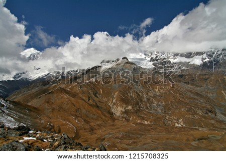 Mountain pass Nyele La at an altitude of 4,830 meters. View of Jomolhari peak. Jigme Dorji National Park. Bhutan. Asia. Stock fotó ©