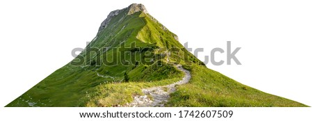 Mountain path isolated on white background