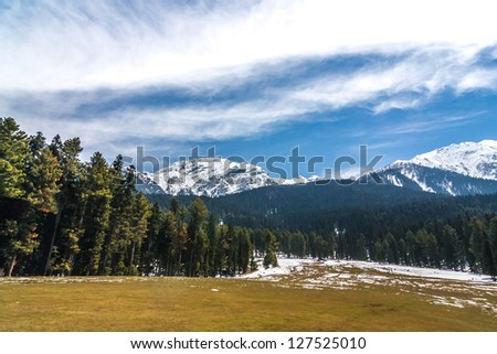 mountain peak at Pahalgam Valley in Pahalgam , Kashmir - India.