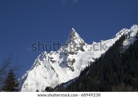 Mountain peak. Caucasus Mountains. Dombay, peak Ine.