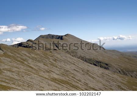 Mountain peak. Detritus - debris.Carpathian Mountains - Carja Peak - Parangul Mare Peak. Romania.