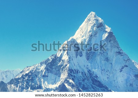 Mountain peak Everest. Highest mountain in the world. National Park, Nepal.
