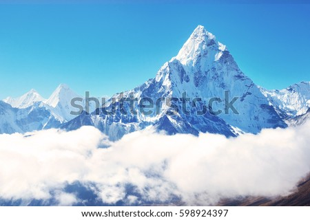 Mountain peak Everest. Highest mountain in the world. National Park, Nepal. #598924397