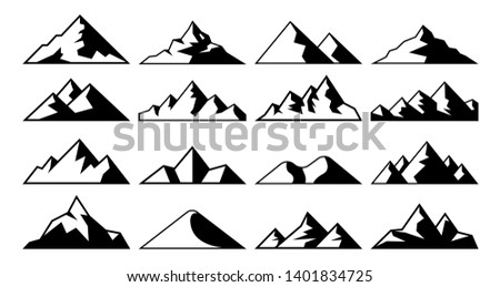 Mountain peak icon. Tibet mountains, berg hills tops and everest hill landscape. Alps winter peaks shape, alpine mountaineer hiking geology isolated  icons set