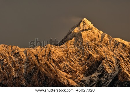 Mountain peak in dawn. North East Asia highest mountain in Taiwan height is 3,952 m above sea level, Called Mt. Jade, Mt. Morrison, Yu shan or Yushan.