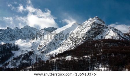 Mountain peak in High Alpes, Le Monetier le-Bains, France Zdjęcia stock ©