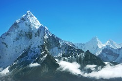 Mountain peak in Nepal. Region of highest mountains in the world. National Park, Nepal.