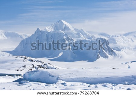 mountain peak is covered with white snow in Antarctica