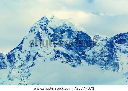 Mountain peak Kangtega. Himalayas, Nepal #723777871
