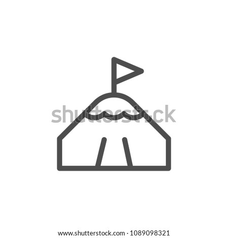 Mountain peak line icon isolated on white