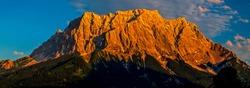 Mountain peak range sunset panorama. Mountain ridge landscape. Mountainous ridge panorama. Mountain ridge panorama. Mountain ridge view