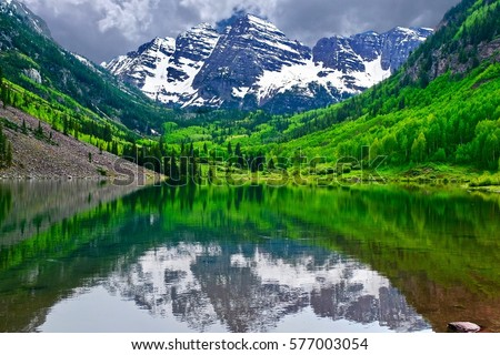 mountain peak reflection in...
