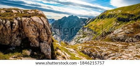 Mountain peak rocks landscape. Mountain panorama. Mountain range panoramic landscape. Mountain range panorama