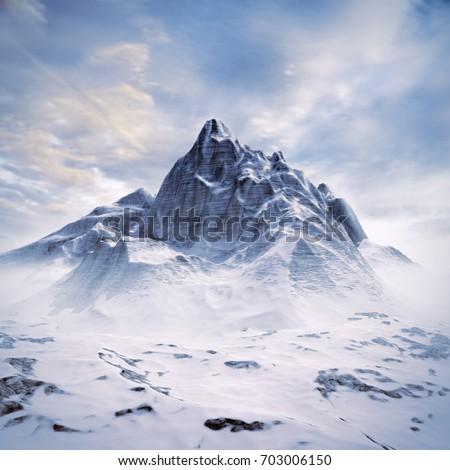 Mountain peak scene / 3D illustration of snowy mountain under sunny sky