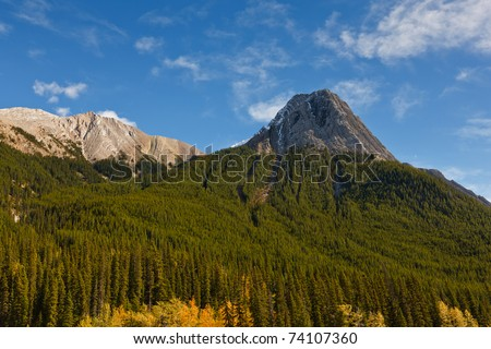 Mountain peak view from Maligne Lake Road, Jasper National Park, Alberta, Canada