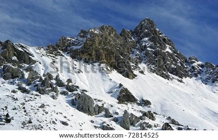 Mountain peak view with snow