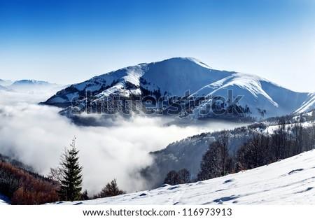Mountain peak, winter landscape