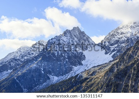 Mountain peak with snow in alps