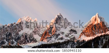 Mountain peaks snow panoramic landscape. Three mountain snowy peaks. Mountain three peaks snow. Snowy peaks in mountains