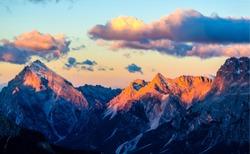 Mountain peaks sunset landscape. Sunset mountain landscape