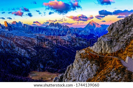 Mountain peaks sunset sky clouds landscape