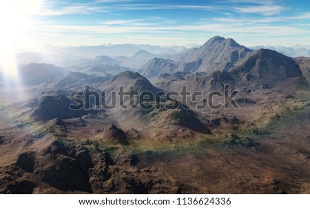 Mountain peaks with sun flare  #1136624336