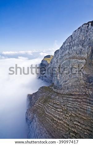Mountain Pilatus in Switzerland raising above the clouds