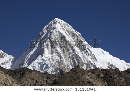 Mountain Pumori in Nepal himalayas, Everest Region. - stock photo