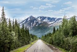 Mountain range and railroad track in Denali National Park Alaska