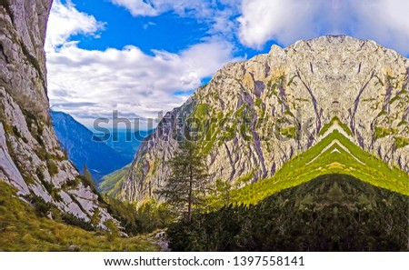 Mountain range blue sky clouds. Mountain range landscape. Mountain range view. Mountain range panorama #1397558141