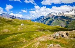 Mountain range grass Alpine  landscape
