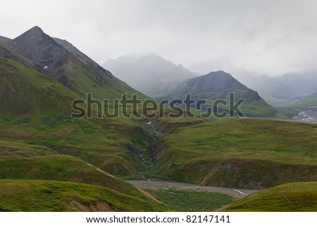 Mountain range in the fog in Denali national park, Alaska