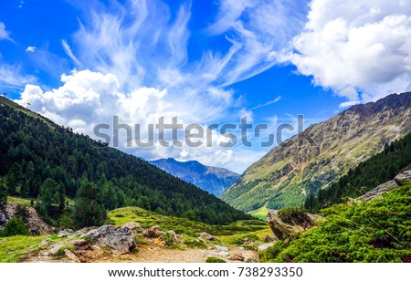 Mountain range landscape sky cloud #738293350